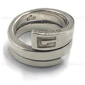Authentic Gucci 925 Silver Logo Ring Size 5 1/4